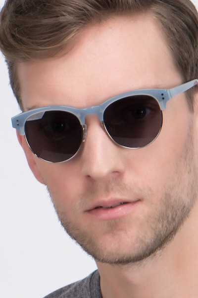 College Light Blue Acetate Sunglass Frames for Men from EyeBuyDirect