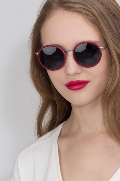 Lady Bird Matte Red Acetate Sunglass Frames for Women from EyeBuyDirect, Front View