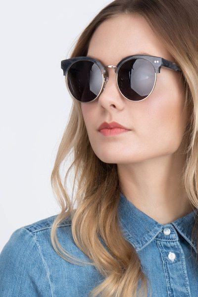 Silicate Gray Acetate Sunglass Frames for Women from EyeBuyDirect, Front View