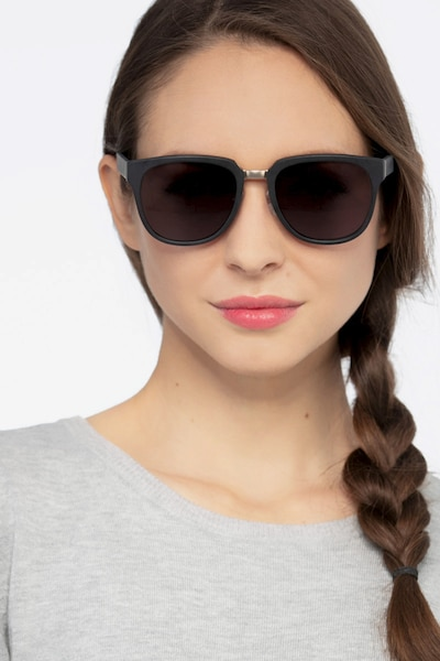 Haute Couture Matte Black Metal Sunglass Frames for Women from EyeBuyDirect, Front View