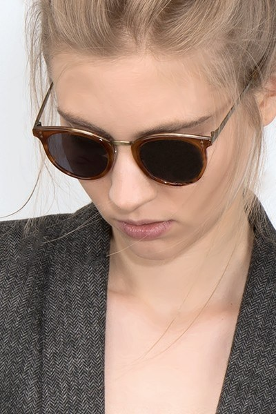Sun Nostalgia Cinnamon Metal Sunglass Frames for Women from EyeBuyDirect