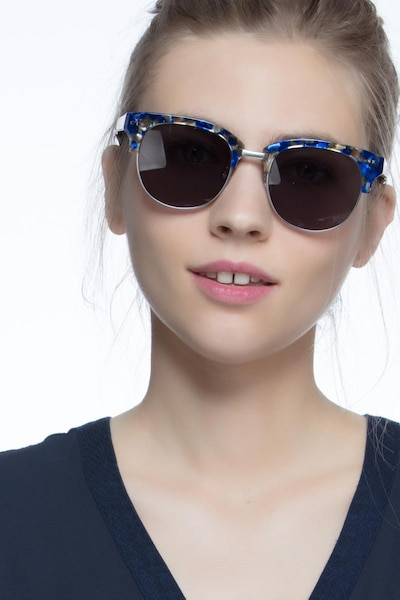 Swift Blue Mosaic Acetate Sunglass Frames for Women from EyeBuyDirect, Front View