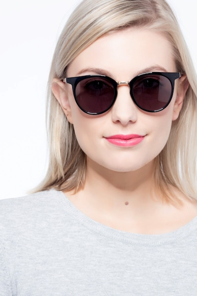 Lulu Black Metal Sunglass Frames for Women from EyeBuyDirect