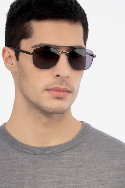 Decode Black Gunmetal Acetate Sunglass Frames for Men from EyeBuyDirect, Front View