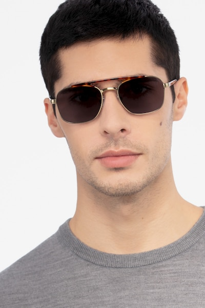 Decode Tortoise Bronze Acetate Sunglass Frames for Men from EyeBuyDirect, Front View