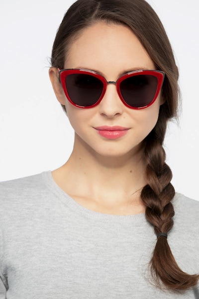 Cadenza Red Acetate Sunglass Frames for Women from EyeBuyDirect, Front View