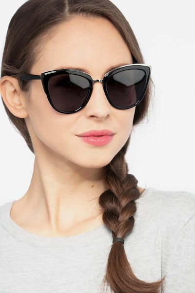 Cadenza Black Acetate Sunglass Frames for Women from EyeBuyDirect, Front View