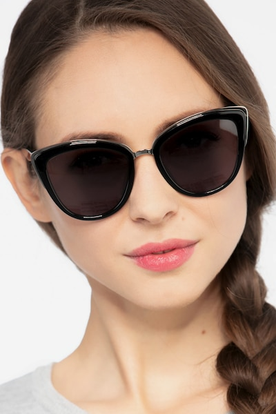 Cadenza Black Acetate Sunglass Frames for Women from EyeBuyDirect