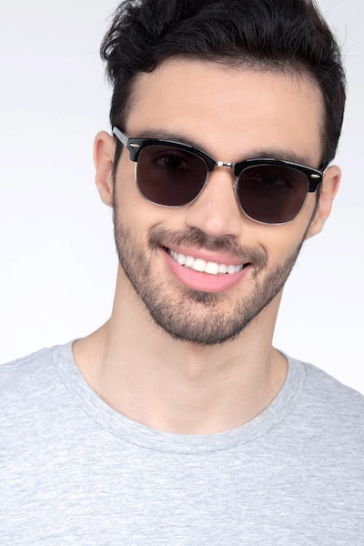 Strata Black Acetate Sunglass Frames for Men from EyeBuyDirect, Front View
