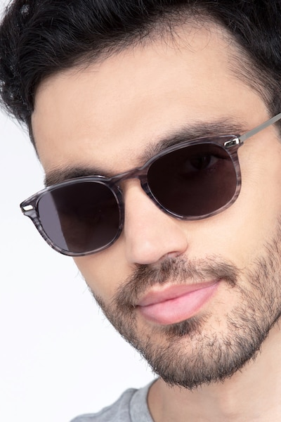 Council Gray Striped Metal Sunglass Frames for Men from EyeBuyDirect