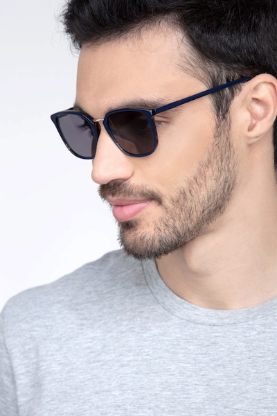 Yuma Navy Metal Sunglass Frames for Men from EyeBuyDirect, Front View