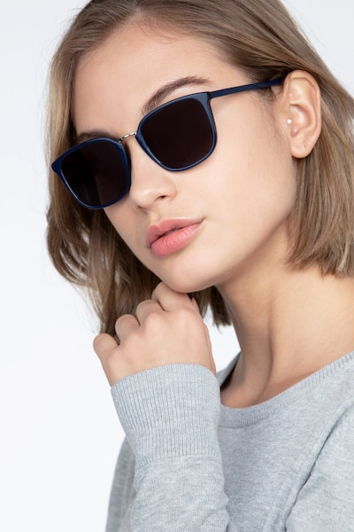 Yuma Navy Metal Sunglass Frames for Women from EyeBuyDirect, Front View