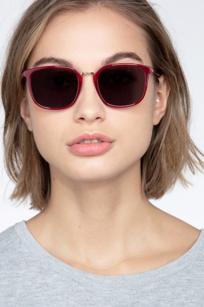 Yuma Red Metal Sunglass Frames for Women from EyeBuyDirect, Front View