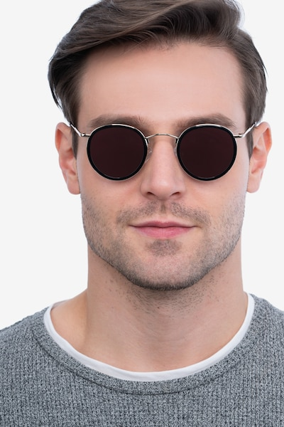 Critic Black Acetate Sunglass Frames for Men from EyeBuyDirect, Front View