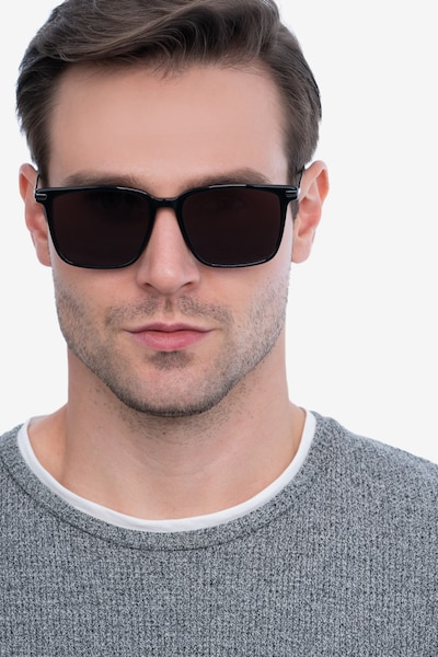 Griffith Black Acetate Sunglass Frames for Men from EyeBuyDirect, Front View