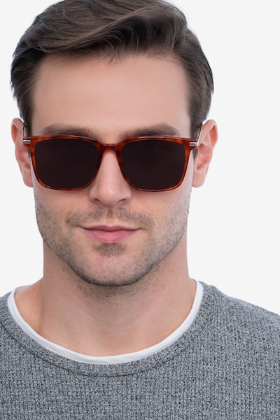 Griffith Light Tortoise Metal Sunglass Frames for Men from EyeBuyDirect, Front View