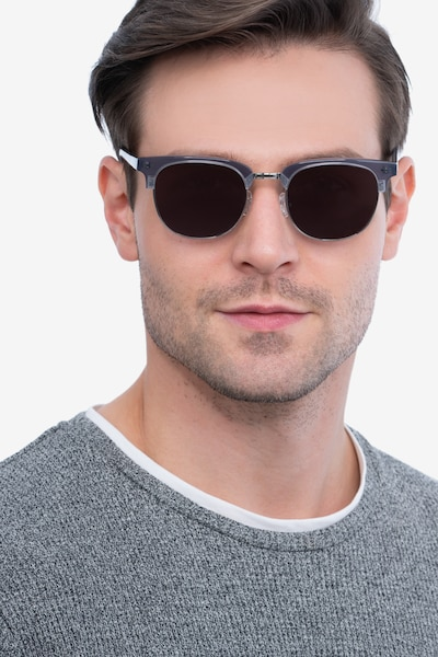 Sun Borderline Gray Metal Sunglass Frames for Men from EyeBuyDirect, Front View