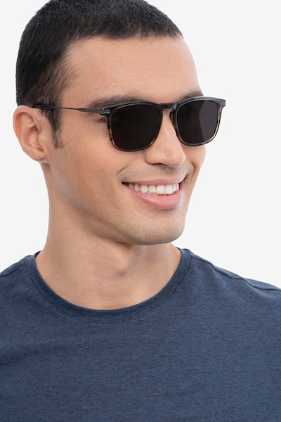 Sun Glory Gray Striped Acetate Sunglass Frames for Men from EyeBuyDirect, Front View