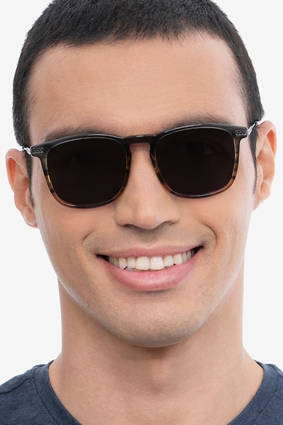 Sun Glory Gray Striped Acetate-metal Sunglass Frames for Men from EyeBuyDirect