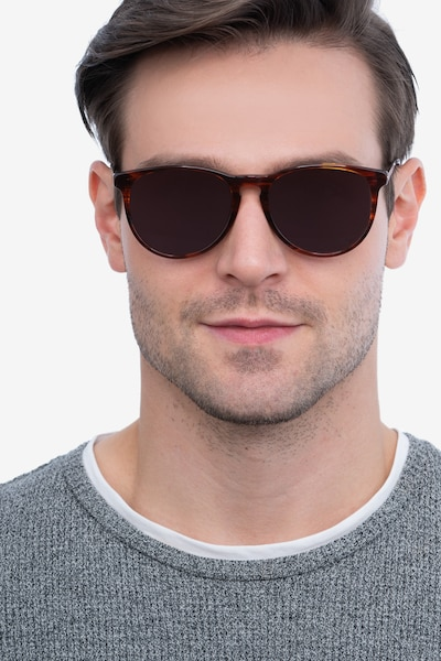 Sun Ultraviolet Brown Striped Metal Sunglass Frames for Men from EyeBuyDirect, Front View