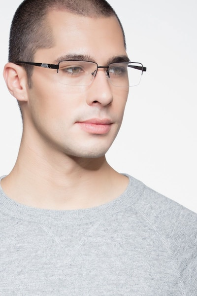 Aron Black Titanium Eyeglass Frames for Men from EyeBuyDirect, Front View