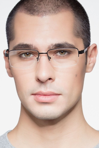 Aron Black Titanium Eyeglass Frames for Men from EyeBuyDirect