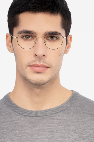 b519dc794 Aegis Black Titanium Eyeglass Frames for Men from EyeBuyDirect, Front View