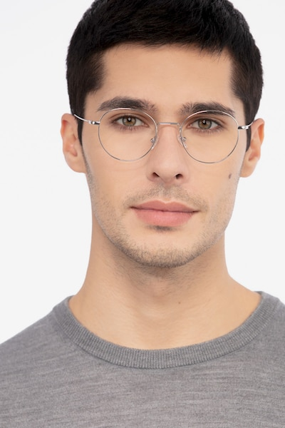 Aegis Silver Titanium Eyeglass Frames for Men from EyeBuyDirect, Front View