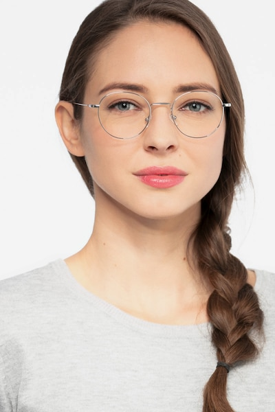 Aegis Silver Titanium Eyeglass Frames for Women from EyeBuyDirect