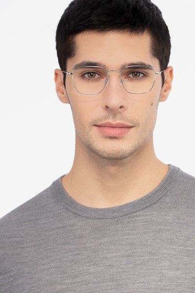 Future Silver Titanium Eyeglass Frames for Men from EyeBuyDirect, Front View