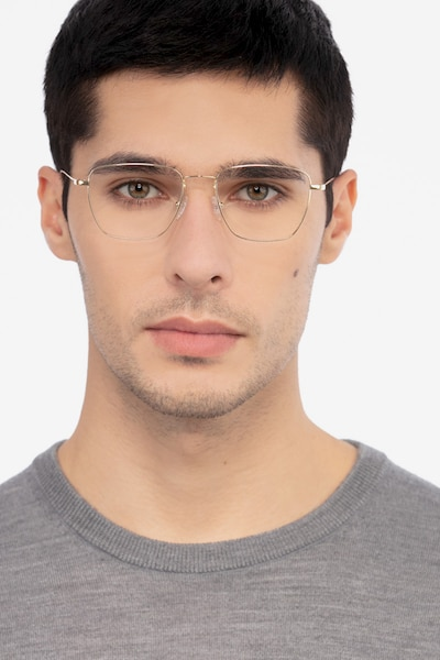 Future Golden Titanium Eyeglass Frames for Men from EyeBuyDirect, Front View