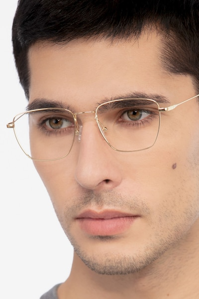 Future Golden Titanium Eyeglass Frames for Men from EyeBuyDirect