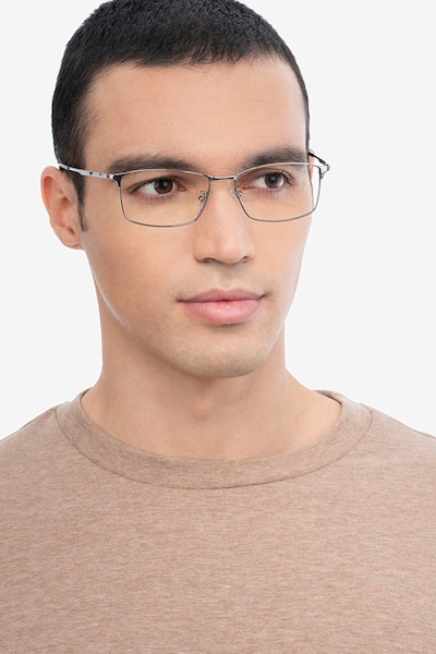 Constant Gunmetal Titanium Eyeglass Frames for Men from EyeBuyDirect, Front View