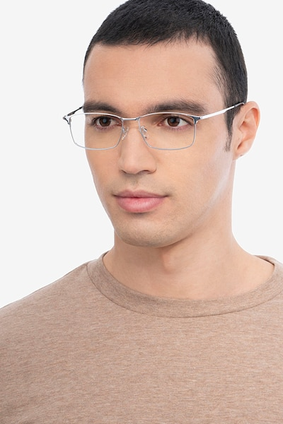 Constant Silver Titanium Eyeglass Frames for Men from EyeBuyDirect, Front View