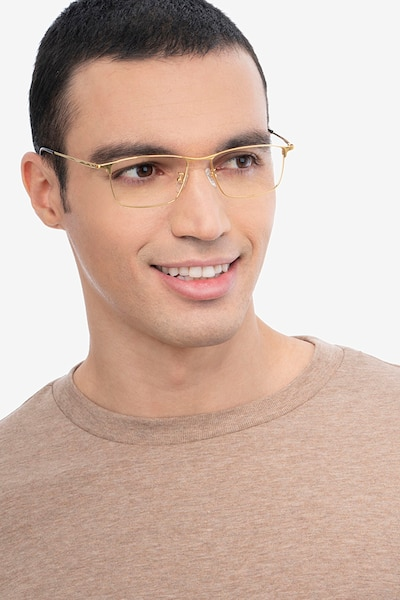 Fielder Gold Titanium Eyeglass Frames for Men from EyeBuyDirect, Front View