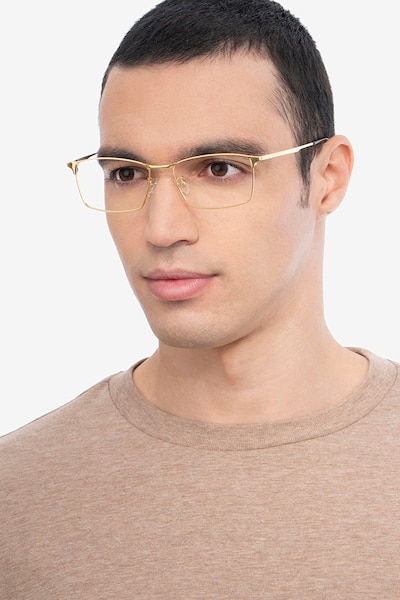 Decider Gold Titanium Eyeglass Frames for Men from EyeBuyDirect, Front View