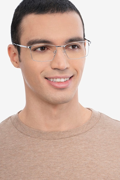 Decider Argenté Titane Montures de Lunettes pour Hommes d'EyeBuyDirect, Vue de Face