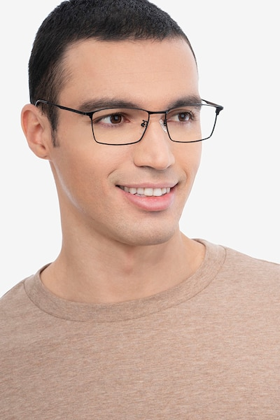 Decider Black Titanium Eyeglass Frames for Men from EyeBuyDirect, Front View