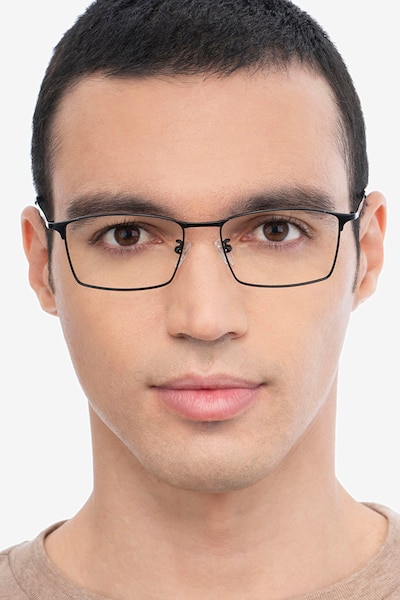 Decider Black Titanium Eyeglass Frames for Men from EyeBuyDirect