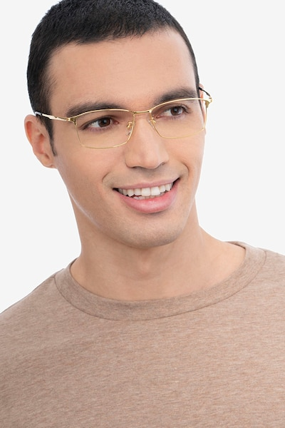 Constant Gold Titanium Eyeglass Frames for Men from EyeBuyDirect, Front View
