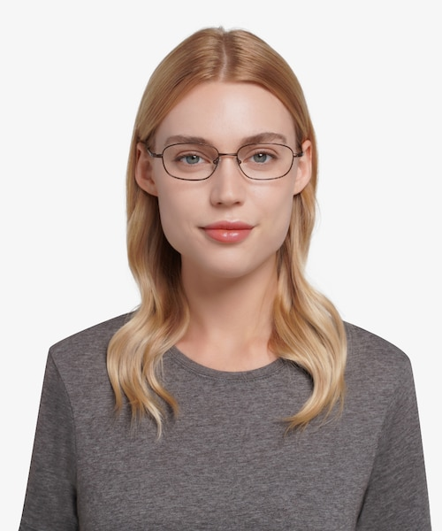 Setup  Coffee  Titanium Eyeglass Frames for Women from EyeBuyDirect, Front View
