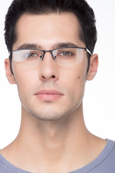 Boon Black Metal Eyeglass Frames for Men from EyeBuyDirect, Front View