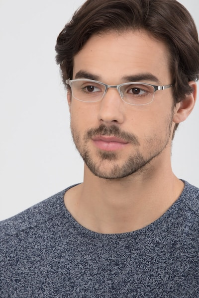 Pearl Silver Metal Eyeglass Frames for Men from EyeBuyDirect, Front View