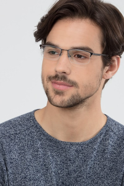 Furox Gunmetal Metal Eyeglass Frames for Men from EyeBuyDirect, Front View
