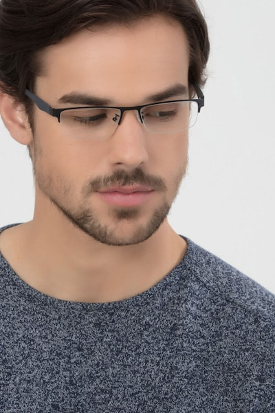 Beau Black Metal Eyeglass Frames for Men from EyeBuyDirect, Front View