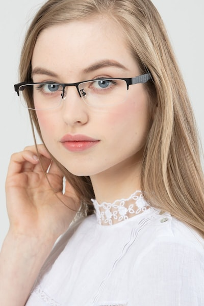 Beau Black Metal Eyeglass Frames for Women from EyeBuyDirect, Front View