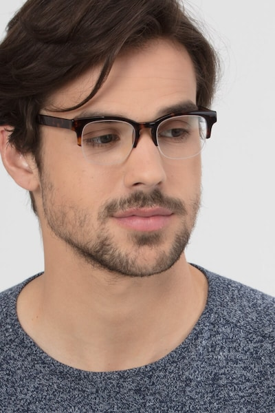 Luxe Tortoise Acetate Eyeglass Frames for Men from EyeBuyDirect, Front View