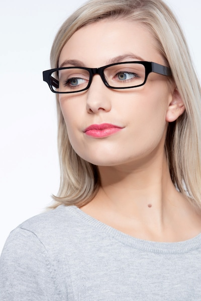 Dieppe Black Acetate Eyeglass Frames for Women from EyeBuyDirect