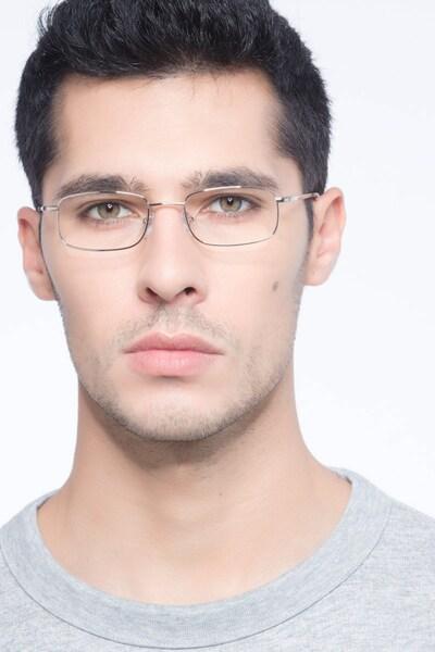 Florian Golden Metal Eyeglass Frames for Men from EyeBuyDirect, Front View