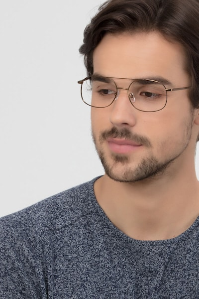 Branson Bronze Metal Eyeglass Frames for Men from EyeBuyDirect, Front View